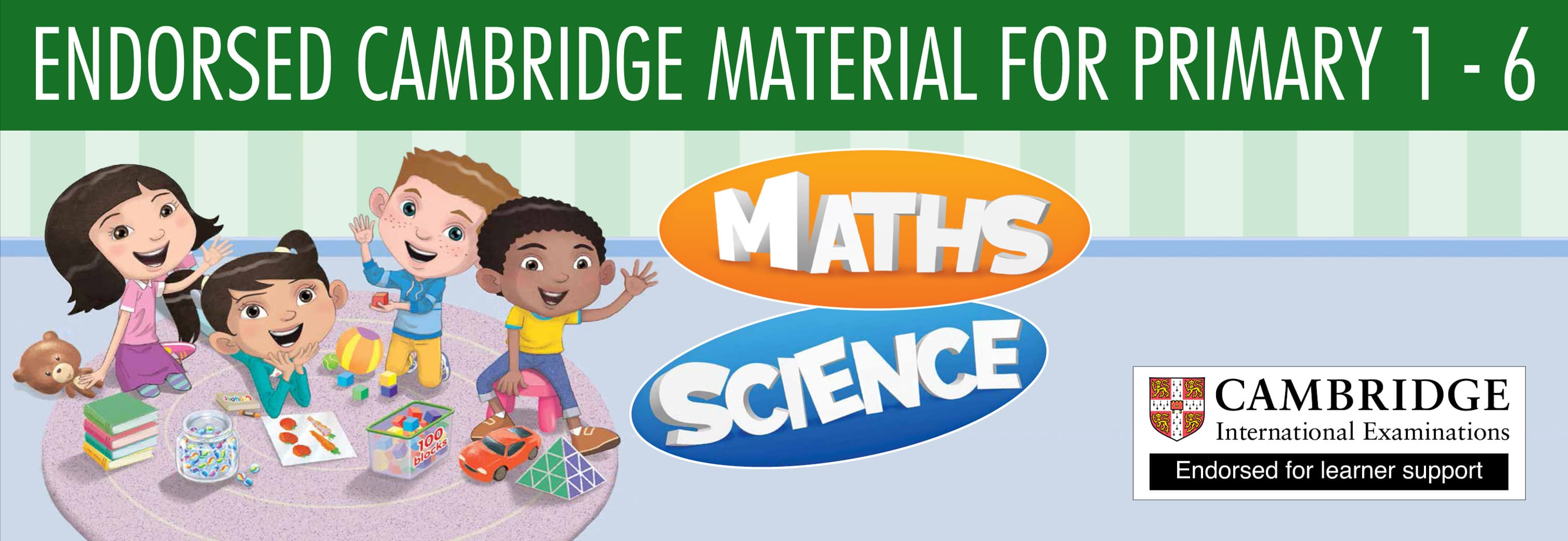 Banner for Marshall Cavendish Cambridge Primary Maths & Science homeschool curriculum provider.