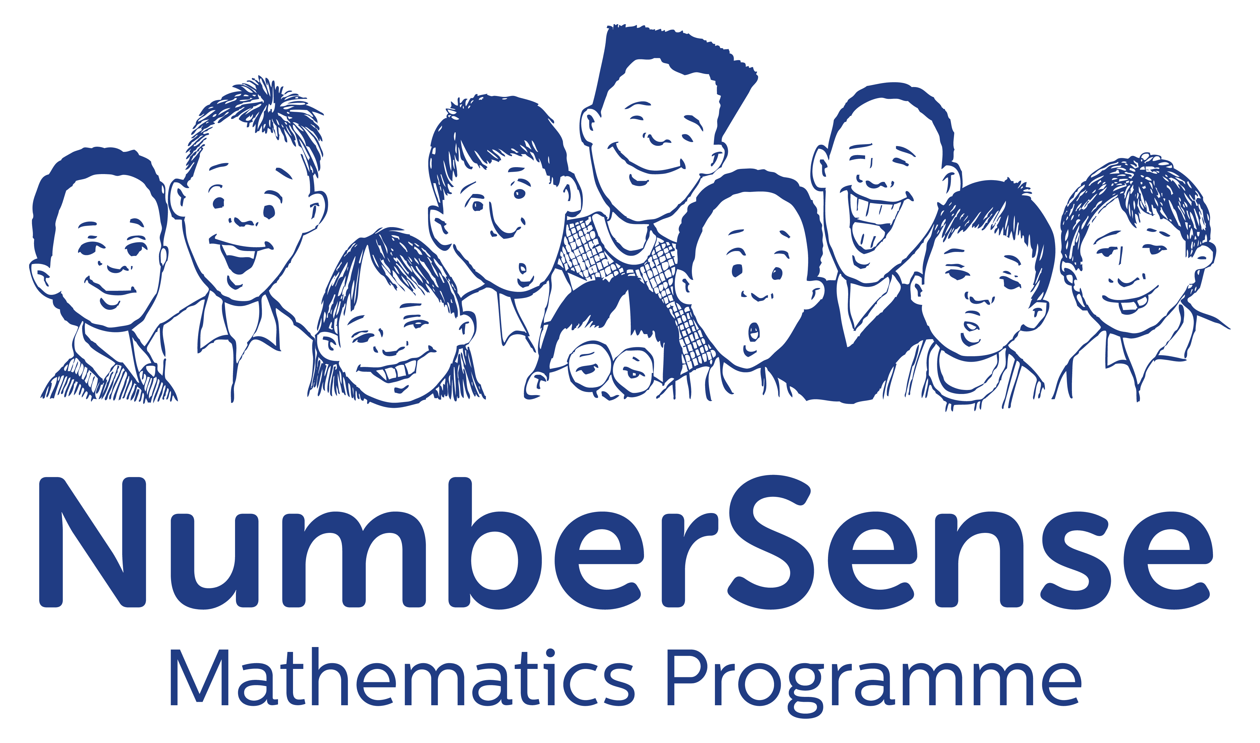 Logo for NumberSense Math Programme homeschool curriculum provider in white.
